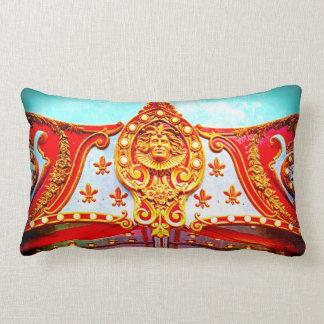 Vintage retro carousel sparkly gold face photo lumbar pillow
