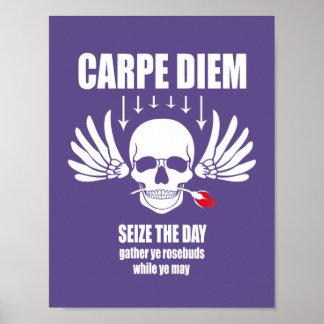 Vintage Retro Carpe Diem. Seize the day Poster