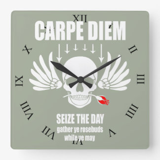 Vintage Retro Carpe Diem. Seize the day Square Wall Clock