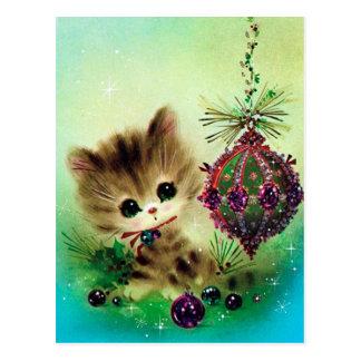 Vintage retro cat Christmas holiday postcard
