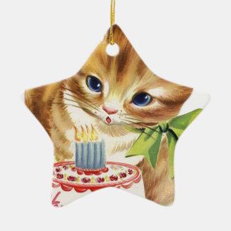 Vintage Retro Cat Kitten Birthday Cake Greeting Ceramic Ornament