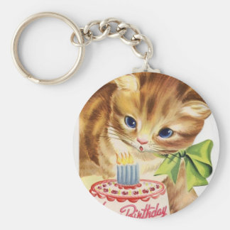 Vintage Retro Cat Kitten Birthday Cake Greeting Keychain
