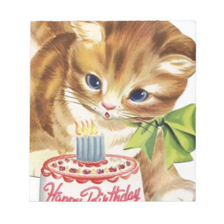 Vintage Retro Cat Kitten Birthday Cake Greeting Notepad