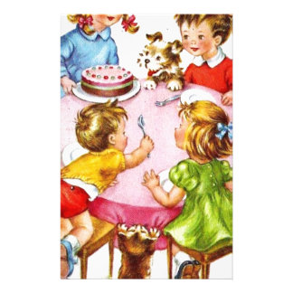 Vintage Retro Children's Birthday Party Dog Kitten Stationery