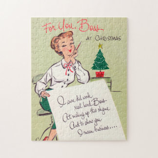 Vintage retro Christmas boss card puzzle