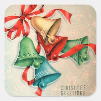Vintage retro Christmas Holiday bells sticker