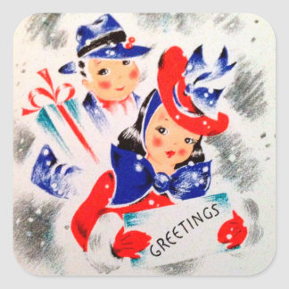 Vintage retro Christmas Holiday couple sticker