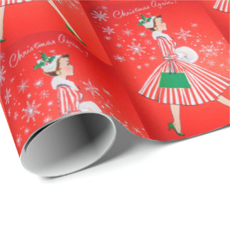 Vintage retro Christmas lady Festive  party wrap Wrapping Paper