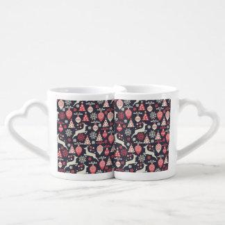 Vintage Retro Christmas Pattern Holiday Coffee Mug Set