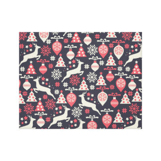 Vintage Retro Christmas Pattern Holiday Gallery Wrap Canvas