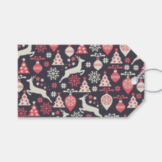 Vintage Retro Christmas Pattern Holiday Gift Tags