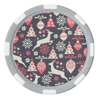 Vintage Retro Christmas Pattern Holiday Poker Chip Set