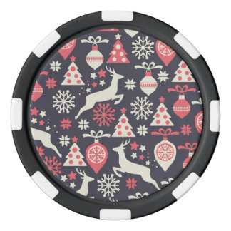 Vintage Retro Christmas Pattern Holiday Poker Chips