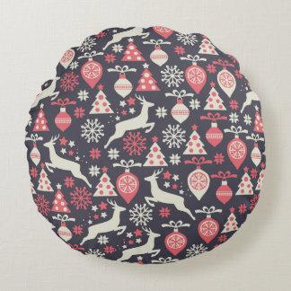 Vintage Retro Christmas Pattern Holiday Round Pillow