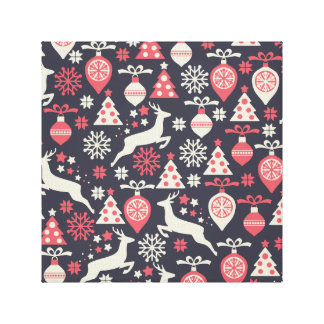 Vintage Retro Christmas Pattern Holiday Stretched Canvas Print