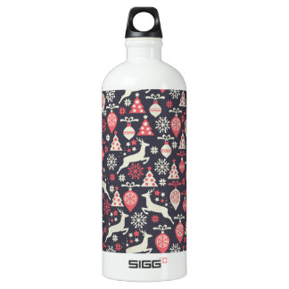 Vintage Retro Christmas Pattern Holiday Water Bottle