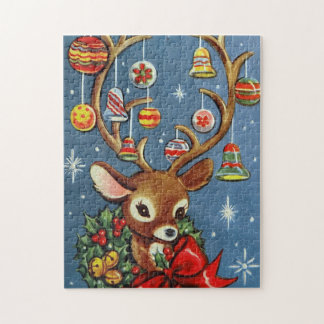 Vintage retro Christmas reindeer Holiday puzzle