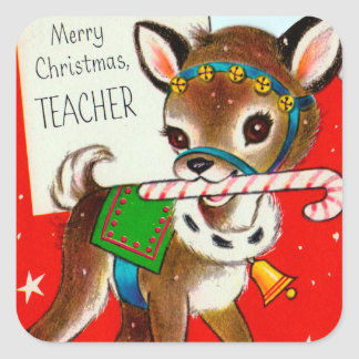 Vintage retro Christmas reindeer teacher sticker