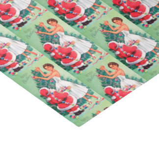 Vintage retro Christmas Santa and lady tissue Tissue Paper