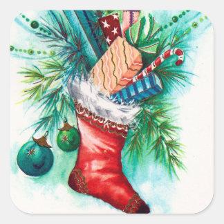 Vintage retro Christmas stocking Holiday sticker