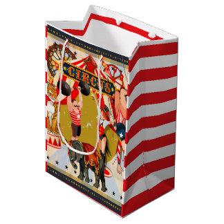 Vintage Retro Circus Birthday Party Favor Treat Medium Gift Bag