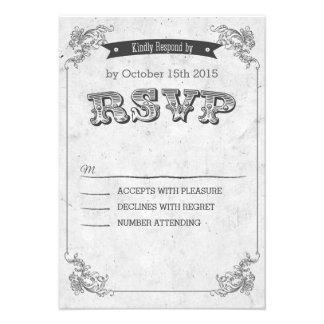 Vintage Retro congregation wedding RSVP Custom Invitations