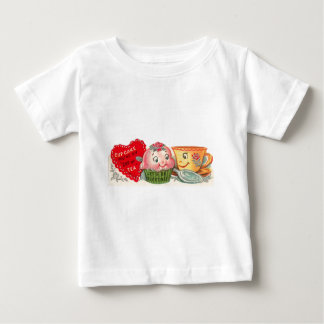 Vintage Retro Cupcake And Teacup Valentine's Day Baby T-Shirt