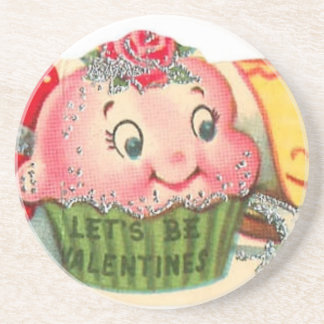 Vintage Retro Cupcake And Teacup Valentine's Day Coaster