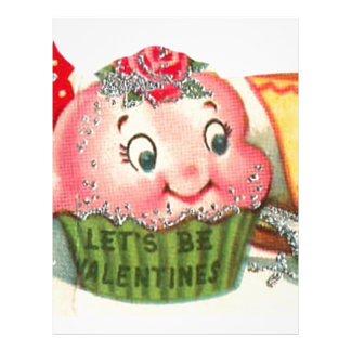 Vintage Retro Cupcake And Teacup Valentine's Day Letterhead
