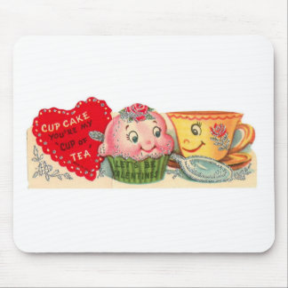 Vintage Retro Cupcake And Teacup Valentine's Day Mouse Pad