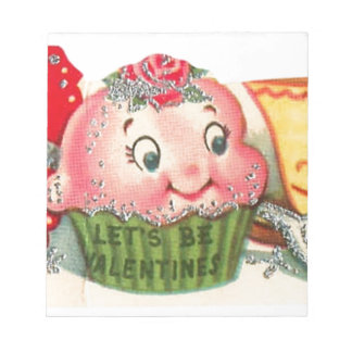 Vintage Retro Cupcake And Teacup Valentine's Day Notepad