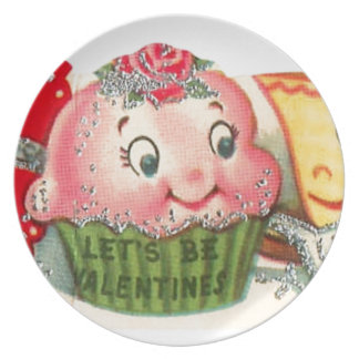Vintage Retro Cupcake And Teacup Valentine's Day Plate