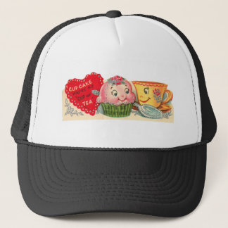 Vintage Retro Cupcake And Teacup Valentine's Day Trucker Hat