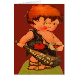 Vintage Retro Cute Caveman Valentine Card