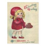 Vintage Retro Cute Little Girl Heart Valentine Postcard