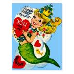 Vintage Retro Cute Mermaid Valentine Card Post Cards
