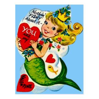Vintage Retro Cute Mermaid Valentine Card Postcard