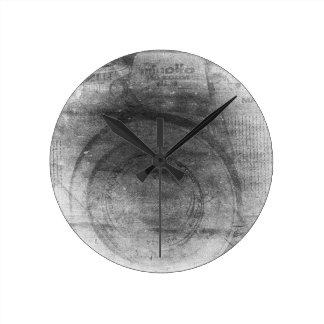 Vintage retro dreamy grey distressed photo camera clock