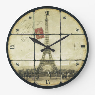 Vintage Retro Eiffel Tower Fleur De Lis Design Large Clock