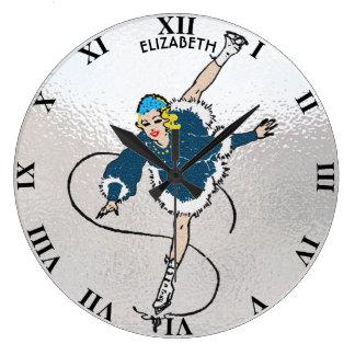 Vintage Retro Figure Skating Girl Old Comics Style Large Clock