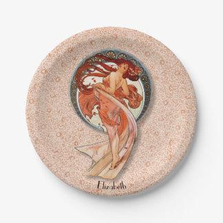 Vintage Retro Floral Art Nouveau Dancing Gir Paper Plate