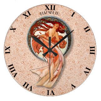Vintage Retro Floral Art Nouveau Dancing Girl Large Clock