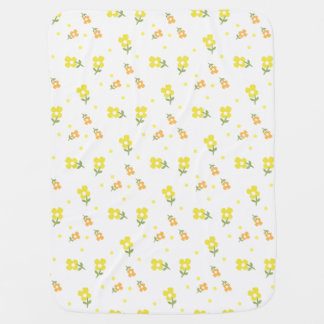 Vintage Retro Flowers and Yellow Dots Cute Baby Swaddle Blanket