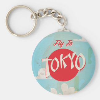 Vintage Retro Fly to Tokyo Travel Poster Keychain