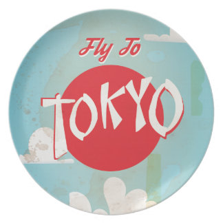 Vintage Retro Fly to Tokyo Travel Poster Plate