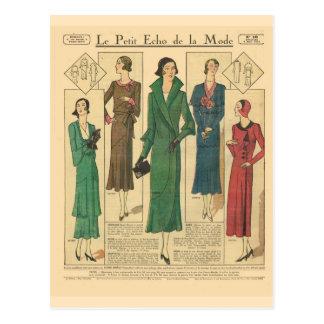 Vintage, retro French  fashion, Day wear 1931 Postcard