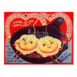 Vintage Retro Fried Eggs Valentine Post Cards