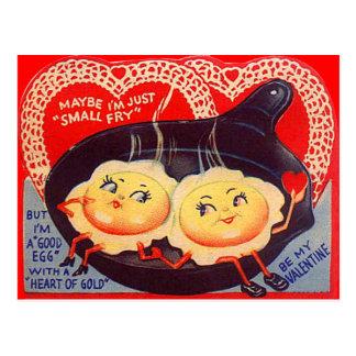 Vintage Retro Fried Eggs Valentine Postcard