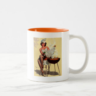 Vintage Retro Gil Elvgren Barbeque Pin up girl Two-Tone Coffee Mug