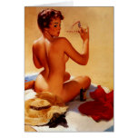 Vintage Retro Gil Elvgren Beach Summer Pinup Girl Greeting Card